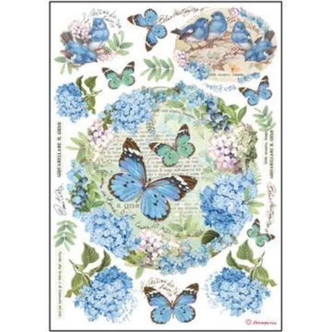Stamperia A4 Decoupage Rice Paper -  Floral Butterflies DFSA4183