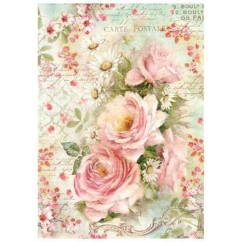 Stamperia A4 Decoupage Rice Paper -  Roses and Daises DFSA4223