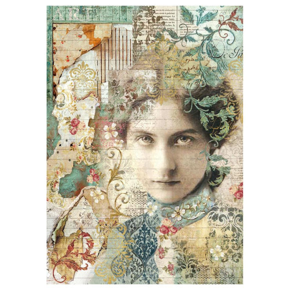 Stamperia A4 Decoupage Rice Paper - Time is an Illusion Face -DFSA4267