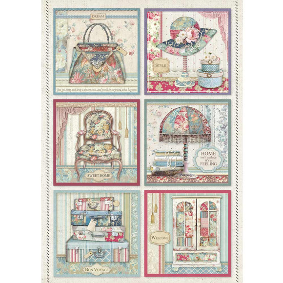 Stamperia A4 Decoupage Rice Paper -  Grand Hotel DFSA4400