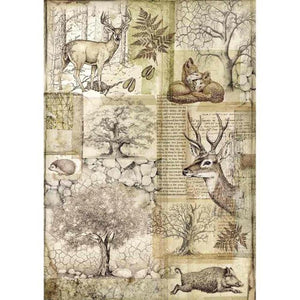 Stamperia A4 Decoupage Rice Paper -  Forest Deer & Boar DFSA4426