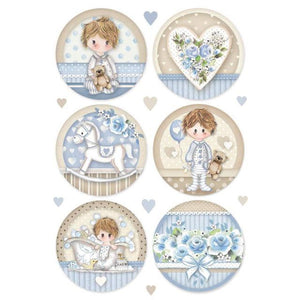Stamperia A4 Decoupage Rice Paper -  Little Boy Spheres DFSA4453