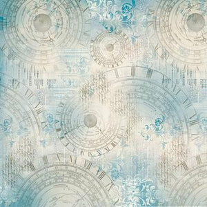 Stamperia 50 x 50cm Decoupage Rice Paper - Texture Light Blue With Clocks DFT263