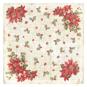 NEW Stamperia 50 x 50cm Decoupage Rice Paper - Christmas Poinsettia- DFT306