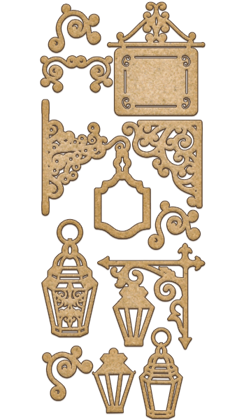 NEW Fabrika Decoru 'Decorative Lanterns and Signs' MDF Elements  - FDSBK-144