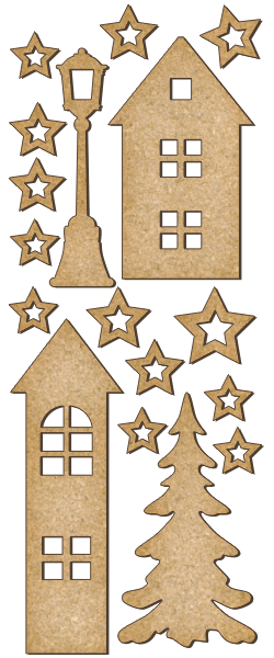 Fabrika Decoru 'Christmas Houses and Street Lamp' MDF Elements  - FDSBK-155