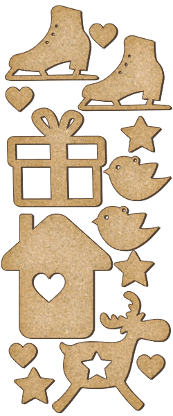 Fabrika Decoru 'Christmas Assortment' MDF Elements  - FDSBK-159