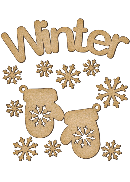 Fabrika Decoru 'Winter Sign and Mittens' MDF Elements  - FDSBK-165