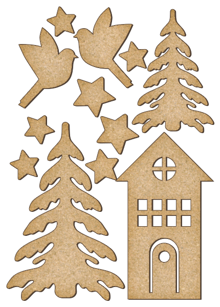 Fabrika Decoru 'Christmas Tree, Birds and House' MDF Elements  - FDSBK-168