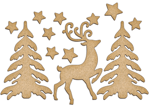 Fabrika Decoru 'Christmas Tree's and Reindeer' MDF Elements  - FDSBK-169