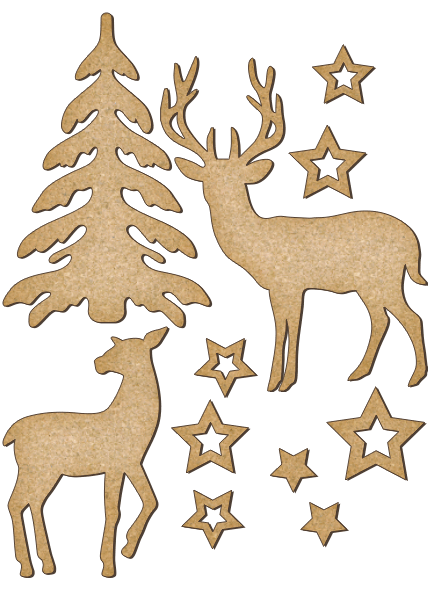 Fabrika Decoru 'Christmas Tree and Reindeer' MDF Elements  - FDSBK-172