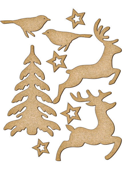 Fabrika Decoru 'Christmas Tree, Birds and Reindeer' MDF Elements  - FDSBK-173