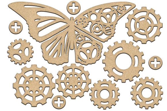 NEW Fabrika Decoru 'Butterfly and Gears' MDF Elements  - FDSBK-187