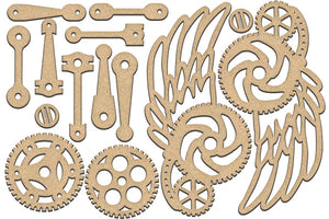 Fabrika Decoru 'Gears, Cogs and Wings' MDF Elements  - FDSBK-190