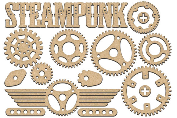 NEW Fabrika Decoru 'Steampunk Sign, Gears and Cogs' MDF Elements  - FDSBK-192