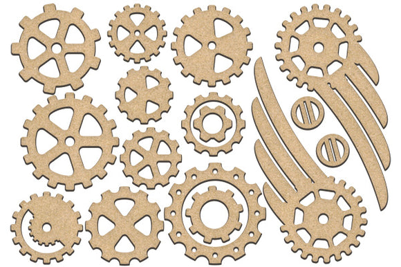 NEW Fabrika Decoru 'Gears, Cogs and Wings' MDF Elements  - FDSBK-196