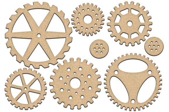 NEW Fabrika Decoru 'Gears and Cogs' MDF Elements  - FDSBK-202
