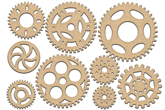 NEW Fabrika Decoru 'Gears and Cogs' MDF Elements  - FDSBK-203