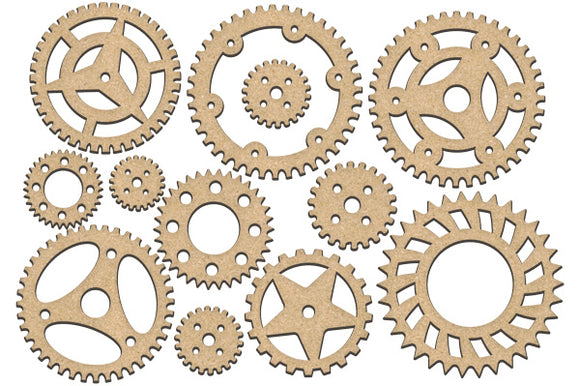 NEW Fabrika Decoru 'Gears and Cogs' MDF Elements  - FDSBK-204