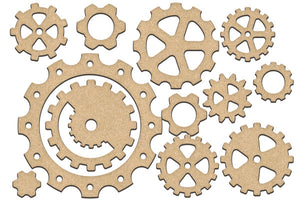 NEW Fabrika Decoru 'Gears and Cogs' MDF Elements  - FDSBK-205