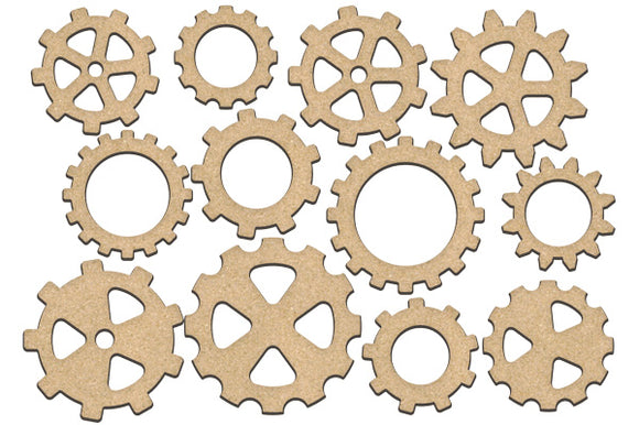 NEW Fabrika Decoru 'Gears and Cogs' MDF Elements  - FDSBK-206