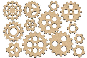 NEW Fabrika Decoru 'Cogs and Gears' MDF Elements  - FDSBK-207