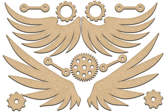 NEW Fabrika Decoru 'Wings and Gears' MDF Elements  - FDSBK-218