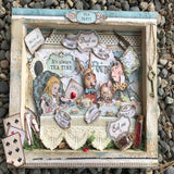 'Alice in Wonderland' Mixed Media Reverse Wooden Board Canvas - Mindy Shokar