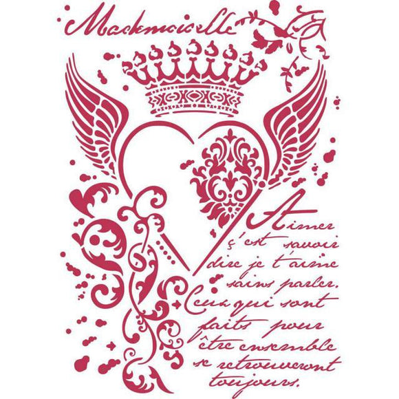 Stamperia Stencil - Flexible transparent 21x29,7cm - Royal Heart - KSG428