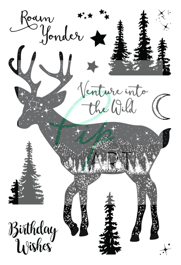 PipART- Venture into the Wild (Deer) - A6 Stamp
