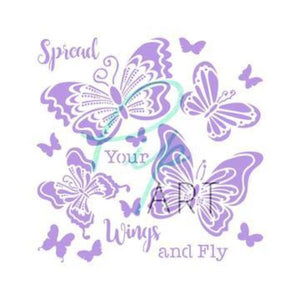 "PipART- 'Spread Your Wings and Fly' - 7"" x 7"" Mylar Stencil"