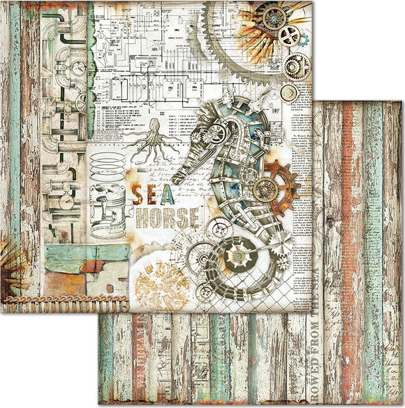 NEW Stamperia 'Sea World - Seahorse' -  Double Face Paper 30 x 30 SBB664