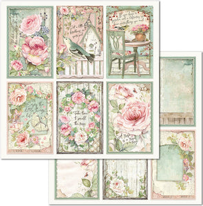 NEW Stamperia 'House of Roses - Cards' -  Double Face Paper 30 x 30 SBB676