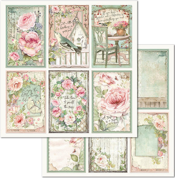 Stamperia 'House of Roses - Cards' -  Double Face Paper 30 x 30 SBB676