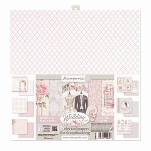 "Stamperia Wedding - Double Face Paper 12"" x 12"" 6 Sheet Pack SBBKL602"