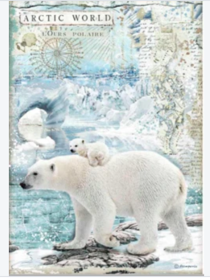 NEW Stamperia A4 Rice Paper Packed Arctic World Polar Bears DFSA4478