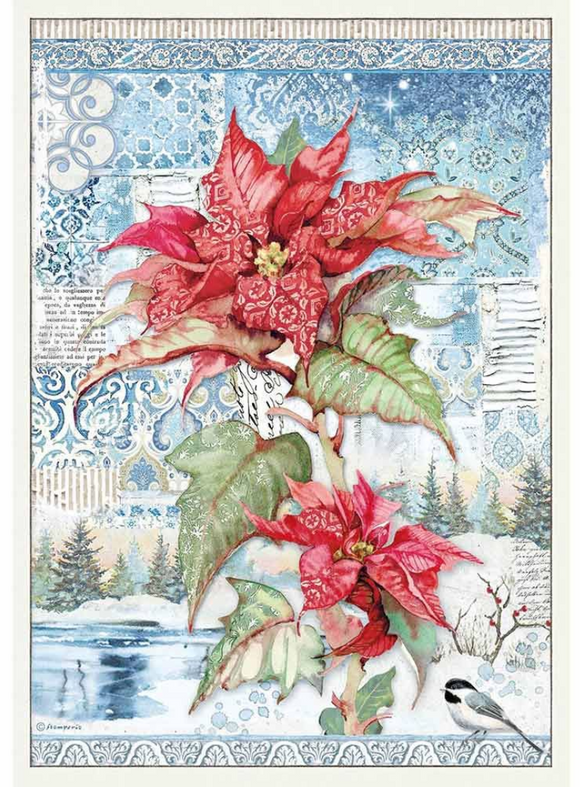 NEW Stamperia A3 Rice Paper - Packed Poinsettia Red - DFSA3072