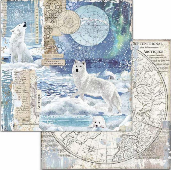 Pre-order NEW Stamperia 'Artic - Wolf' - Double Face Paper 30 x 30 SBB733