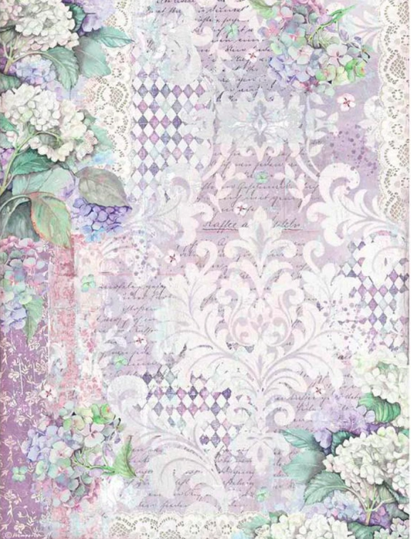 NEW Stamperia A3 Rice Paper - Hortensia WallPaper- DFSA3062