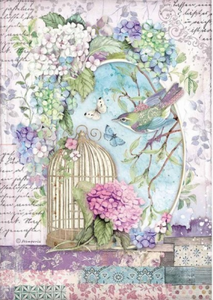 NEW Stamperia A4 Decoupage Rice Paper -  Packed Cage Hortensia DFSA4472