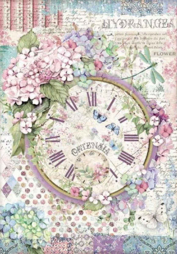NEW Stamperia A4 Decoupage Rice Paper -  Clock Hortensia DFSA4468