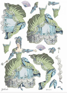 NEW Stamperia A3 Rice Paper - Lady Blue/Green - DFSA3073