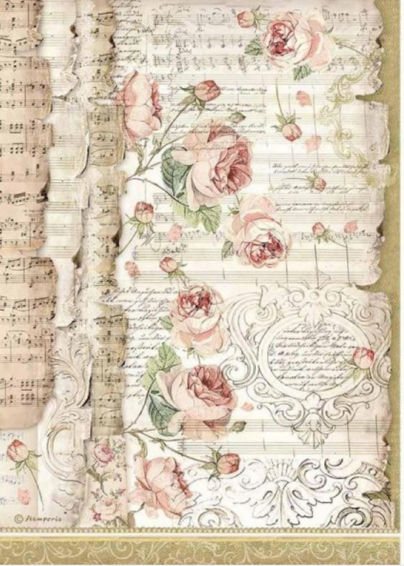 NEW Stamperia A4 Decoupage Rice Paper - Roses & Music Princess DFSA4486