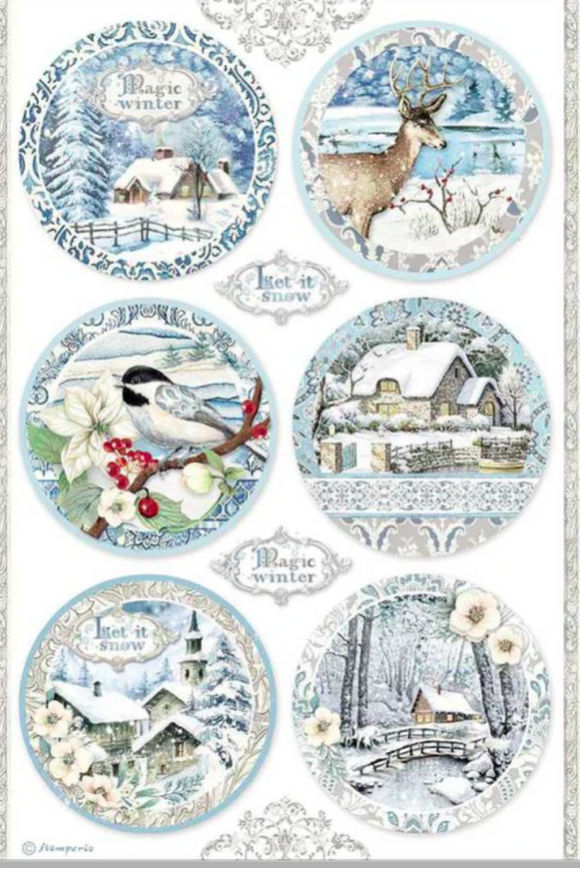 NEW Stamperia A4 Decoupage Rice Paper -  Winter Tales Spheres DFSA4495