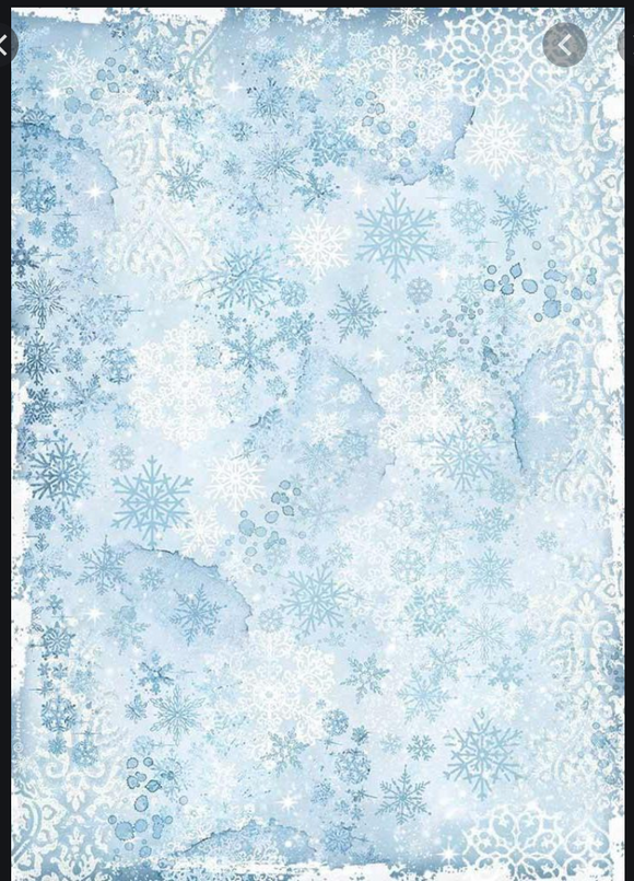 Stamperia A3 Rice Paper - Snowflakes - DFSA3071