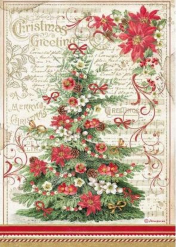 NEW Stamperia A4 Decoupage Rice Paper -  Christmas Greetings Tree DFSA4476