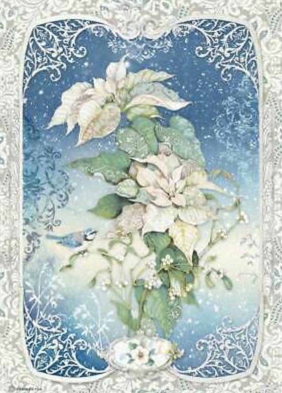 NEW Stamperia A4 Decoupage Rice Paper -  Winter Tales White Poinsettia DFSA4493