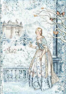 NEW Stamperia A4 Decoupage Rice Paper -  Winter Tales Fairy in the Snow DFSA4489
