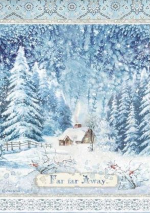 NEW Stamperia A4 Decoupage Rice Paper -  Winter Tales Far Far Away DFSA4491