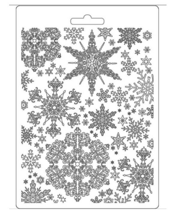 NEW Stamperia Texture Impression Moulds - A5 - Snowflakes - K3PTA556